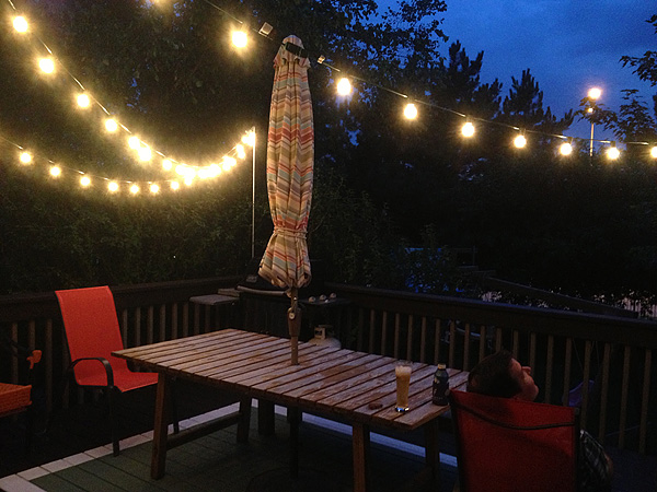 Thrifty thursday to hang string lights over the deck suzanne outdoor string lights on my deck 5 workwithnaturefo