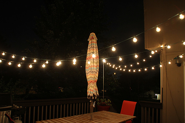 Thrifty thursday to hang string lights over the deck suzanne outdoor string lights on my deck 1 workwithnaturefo