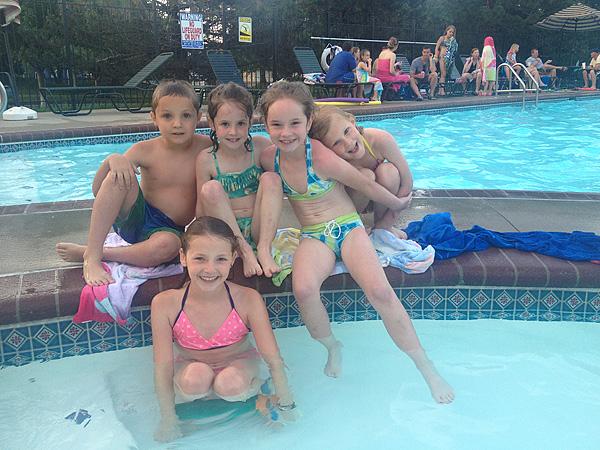 Cousins swimming