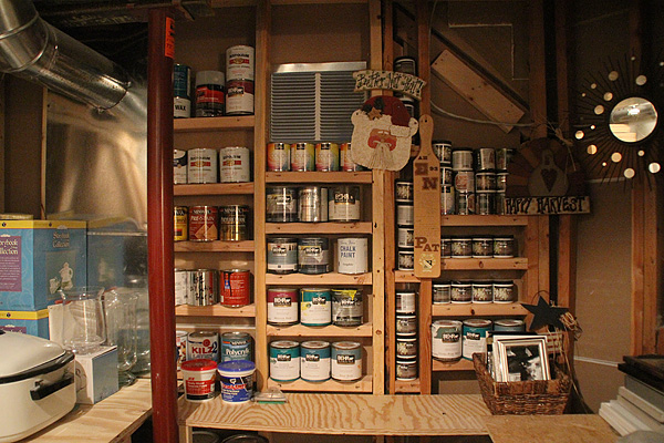 Paint can storage shelves