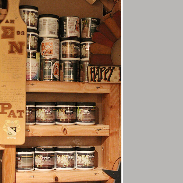Paint can storage detail