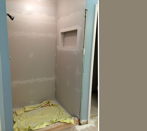Shower with drywall
