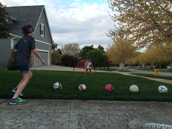 Soccer in the front yard