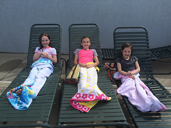 Little girls at the pool