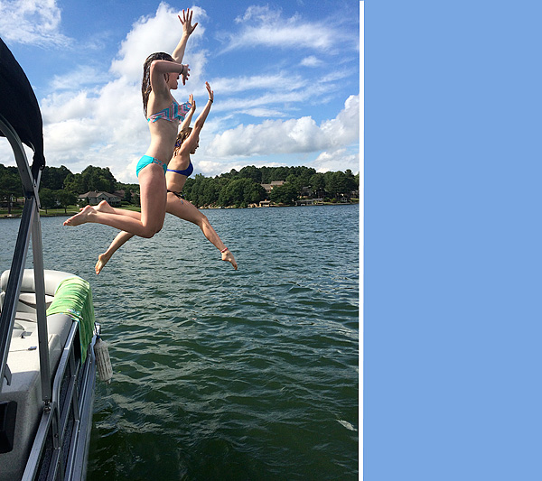 #1 and Zoe jumping off the boat