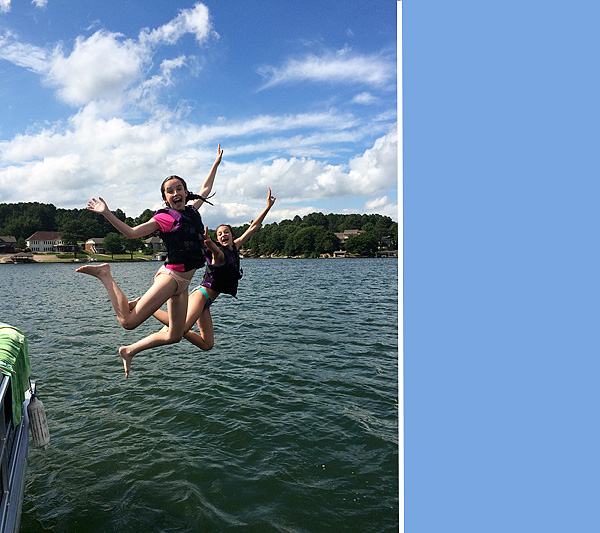 #2 and Addy jumping off the boat