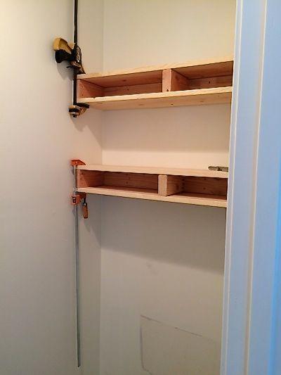 Bathroom shelves in progress