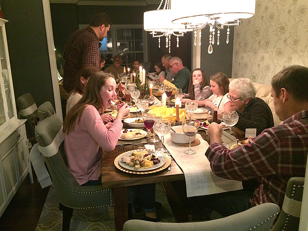 Thanksgiving table full of people