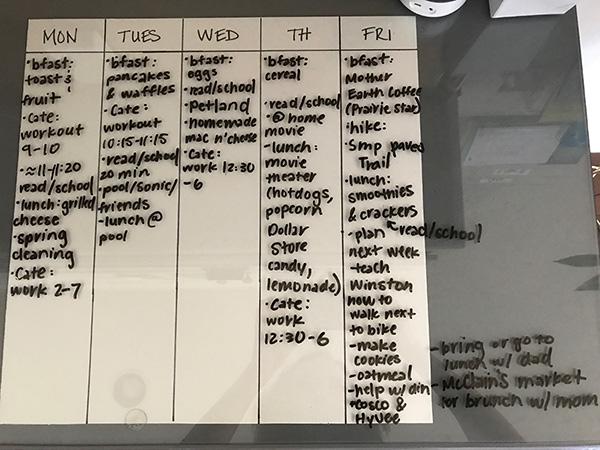 Summer Schedule Week 1