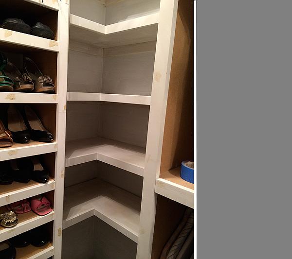 Primed closet shelves
