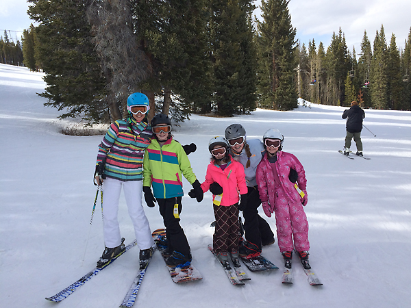 Me skiing with the kids