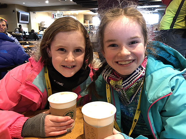 The littles with hot chocolate
